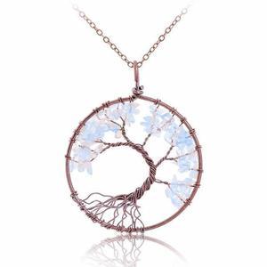 White Opalite Tree of Life Gemstone Necklace