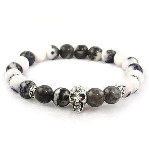 White Zebra Jasper Skull Bracelet