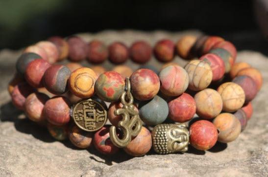 picasso jasper om yoga meditation bracelet