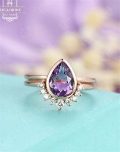 Amethyst engagement ring set Vintage Pear shaped cut Amethyst ring 14K Gold Curved wedding women Bridal Jewelry Anniversary gift for her