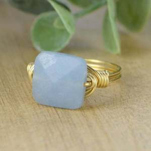 Blue Grey Angelite Faceted Square Gemstone Wrapped Ring-Sterling Silver, Yellow or Rose Gold Filled Wire