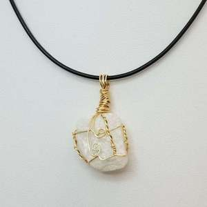 Cryolite Wire Wrapped Pendant Necklace