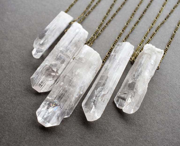 Danburite Raw Crystal August Birthstone Necklace