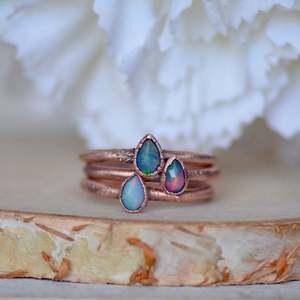 Ethiopian Fire Opal Copper Dainty, Stackable, Boho Ring
