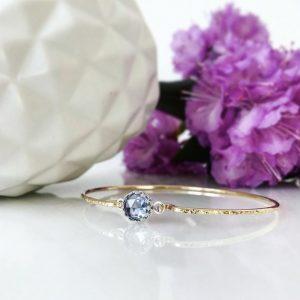Genuine Alexandrite Bangle Bracelet - June Birthstone Jewelry - Birthday Gift for Wife, Mom, Daughter - 14k Gold Sterling Silver
