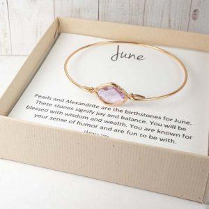 June Birthstone Bangle - Alexandrite Gold Bangle - Birthstone Jewelry - June Bracelet - Birthstone Bracelet - June Jewelry - Birthday Gift