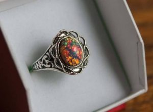 Mexican Fire Opal Ring, Silver Plated Antiqued ,Renaissance ,Victorian Jewelry