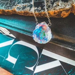 Raw Angel Aura Quartz Necklace - Sterling Silver Raw Gemstone Aura Quartz Necklace - Angel Aura Quartz Pendant - Healing Aura Quartz Jewelry