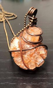 Vintage Aragonite Pendant Necklace - Wire Wrapped