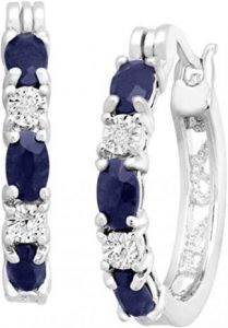 Blue Sapphire Gemstone Hoop Earrings with Diamonds in Platinum-Plated Brass