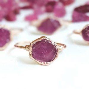 Dainty Minimalist Boho Raw Ruby Engagement Ring