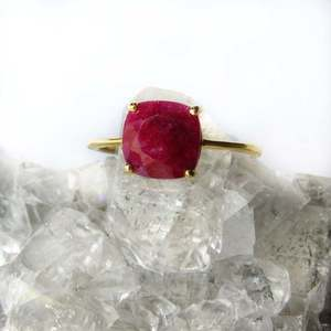 Dainty Stackable Red Ruby Ring in Gold