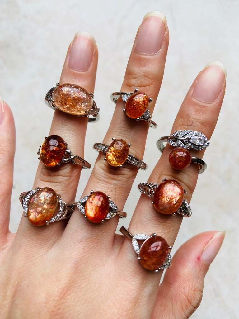 Golden Sunstone Statement Ring