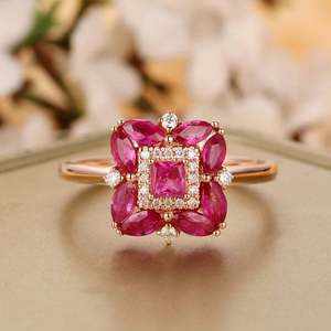 Natural Ruby 14K Yellow Gold Art Deco Engagement Ring