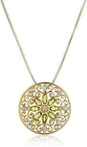 Peridot Mandala Pendant 18k Yellow Gold Plated Sterling Silver Necklace