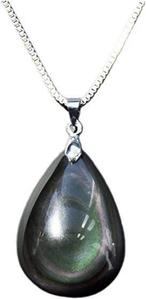 Rainbow Obsidian Teardrop Pendant Necklace