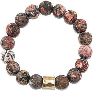 Rhodonite Gemstone Beaded Stretch Bracelet with Gold Plated Bar for Women