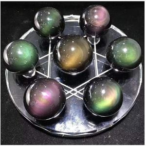 Seven Rainbow Obsidian Crystal Ball Set with Tetrahedron Glass Plate