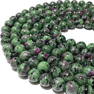 Tanzania Dark Ruby in Zoisite AKA Anyolite Gemstone Beads For Jewelry Making