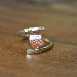 Wire Wrapped Sunstone Ring in 14k Gold Fill, Sterling Silver