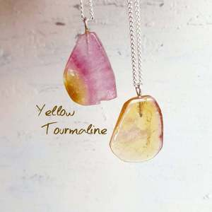 Yellow Tourmaline Dainty Minimalist October Birthstone Necklace