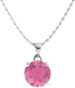 Certified Pink Tourmaline Gemstone Solitaire Necklace in 14k White Gold