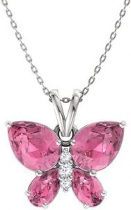 Certified Pink Tourmaline Gemstone and Diamond Butterfly Necklace in 14k White Gold