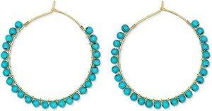 Dainty Minimalist Turquoise Hoop Earrings