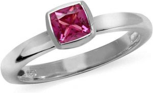 October Birthstone Pink Tourmaline Gemstones Sterling Silver Stackable Ring