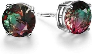 Sterling Silver Watermelon Tourmaline Stud Earrings
