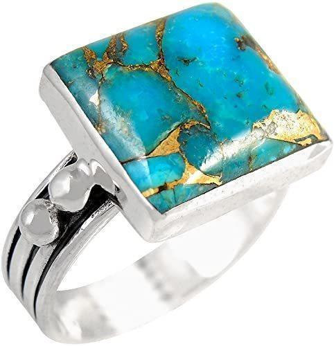 Turquoise Ring in Sterling Silver, Square Cut